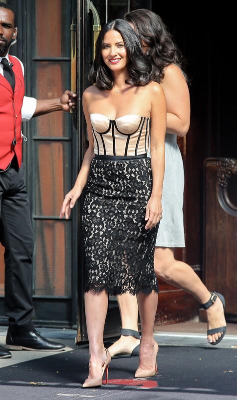Olivia Munn on David Letterman - Dress Michael KorsShoes Christian Louboutin