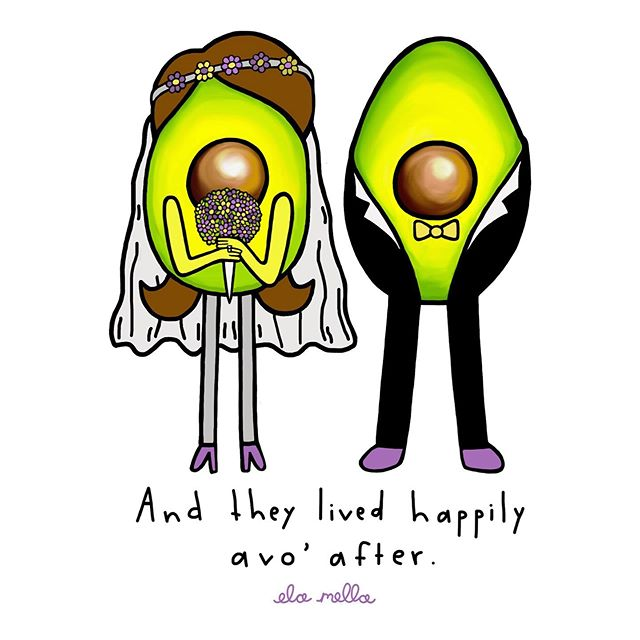 Who else can't login to Facebook without seeing another engagement??? 😳 I'm either getting old or it's wedding szn 👰🥑🤵🖤 . . . . . . . . . . . . . . . . . . . #wedding #bride #groom #greetingcard #greetingcards #weddingszn #cards #avocado #avocados #elamella #guac #guacamole #illustration #hollywood #puns #sketch #watercolor #love #losangeles #losangelesart #married #avocadoart #proposal #design #couplegoals #engaged #paint