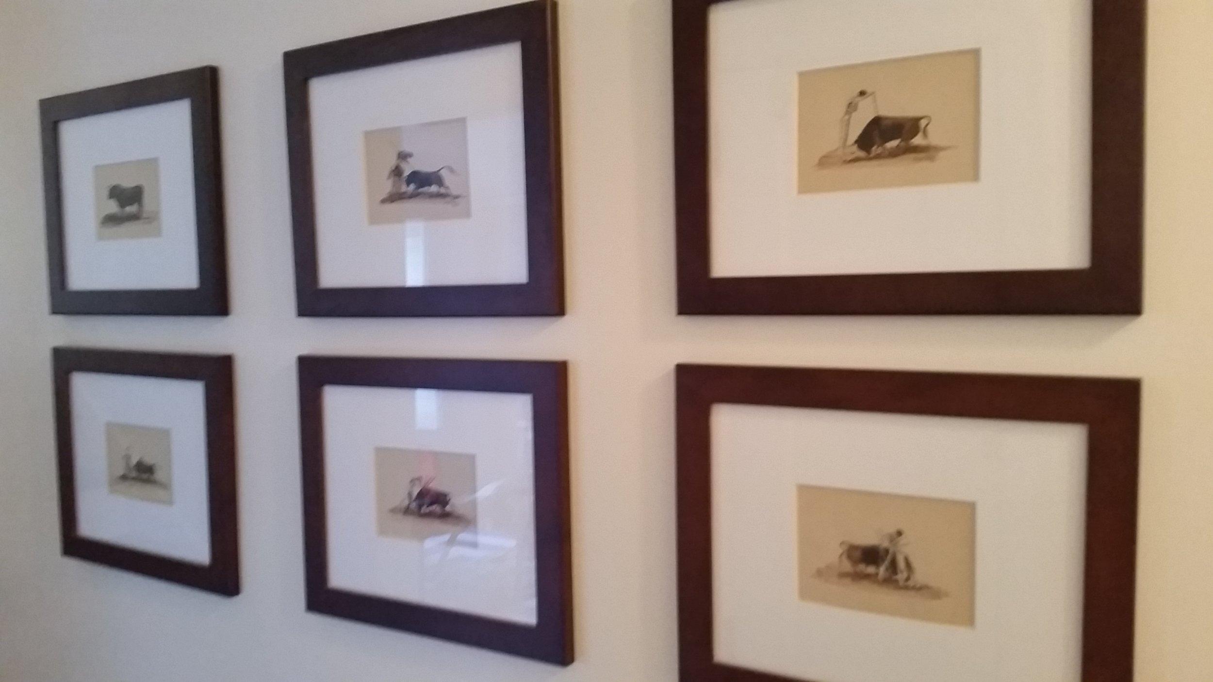 Angel Zapata - bull fighting watercolors - 1960