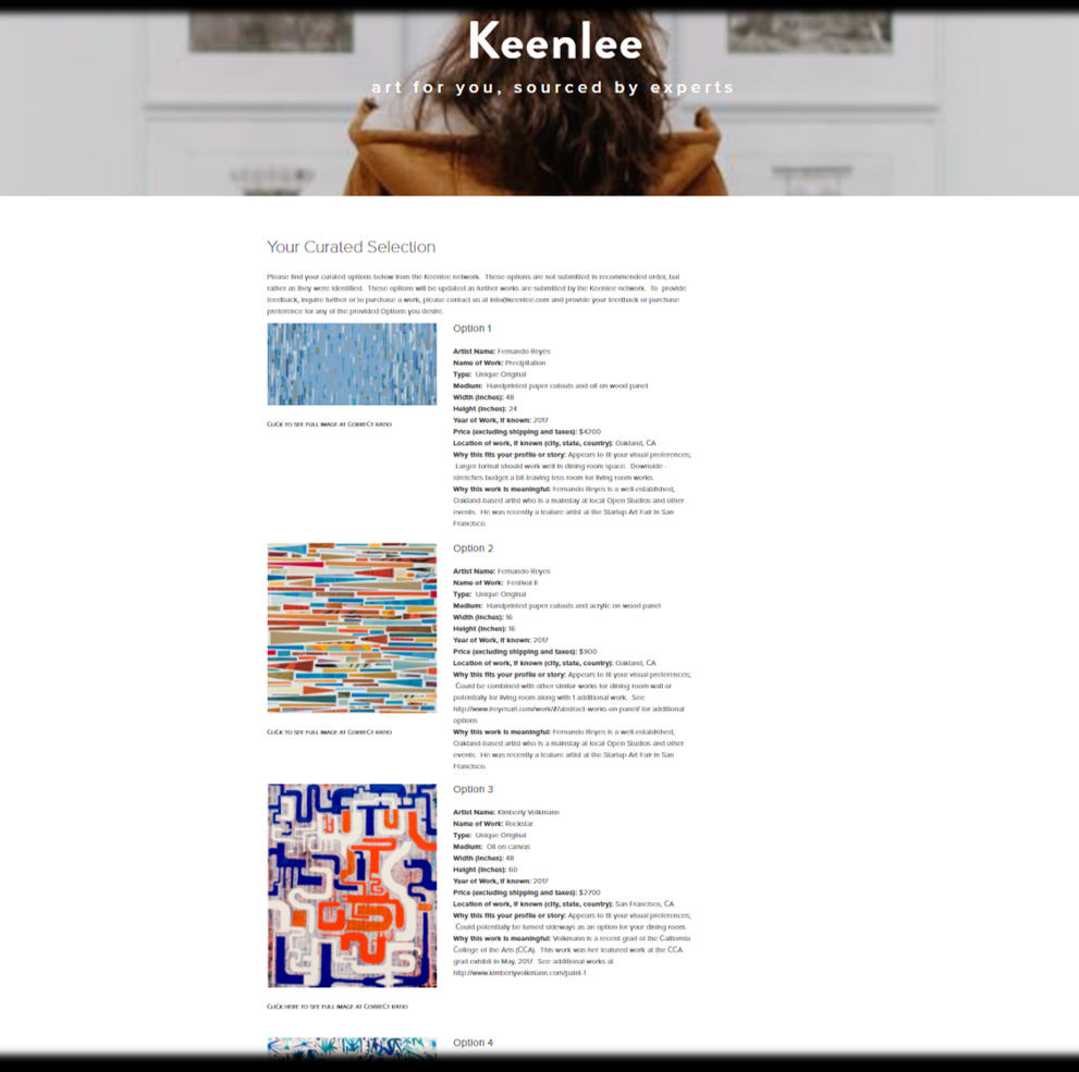 Step 3 - Review your personalized art portfolio online. Buy only what you love!
