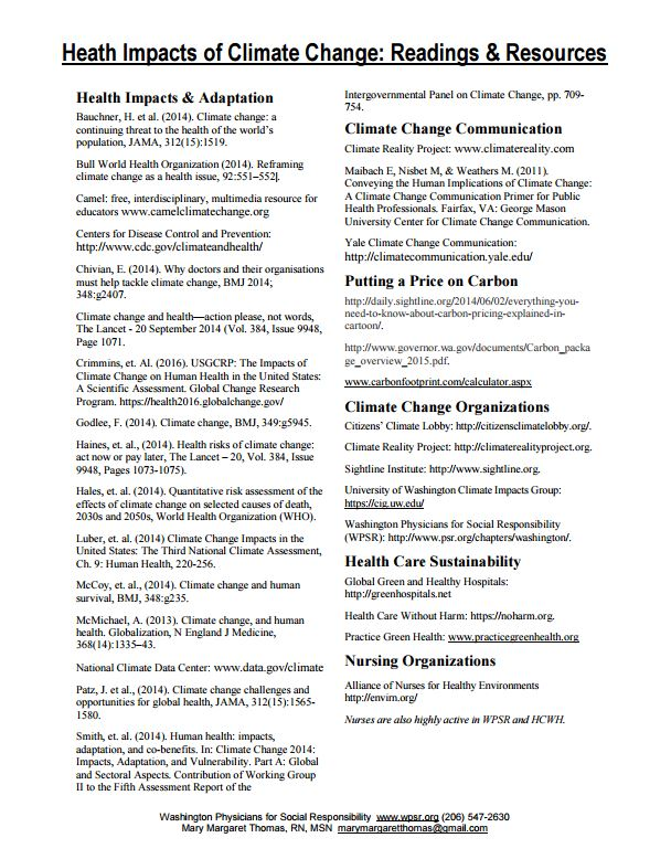 Recommended Reading from WPSR's Task Force - One page of reading recommendations for an overview of climate change's health impacts from the Climate Change and Health Task Force