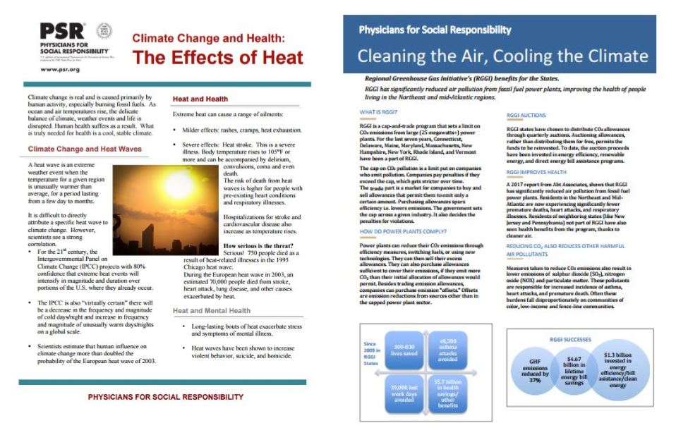 PSR National Climate Change Website - PSR has put together background information and fact sheets highlighting a range of climate-related threats to human health.
