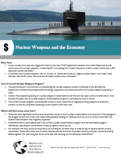 Nuclear Weapons and the Economy - A fact sheet on the economic impact of nuclear weapons.