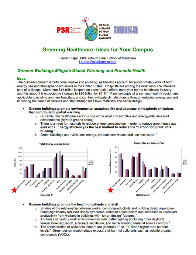Greening Healthcare - Ideas for Your Campus - Fact sheet on opportunities to make the healthcare system more sustainable.