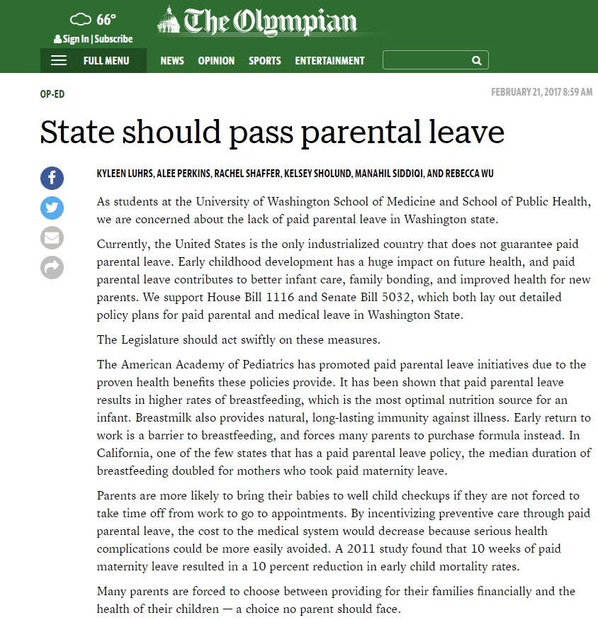 Op-Ed: State Should Pass Parental Leave - Medical and public health student members of WPSR's chapter at the University of Washington authored an op-ed in February 2017 urging the state legislature to pass paid parental leave legislation.
