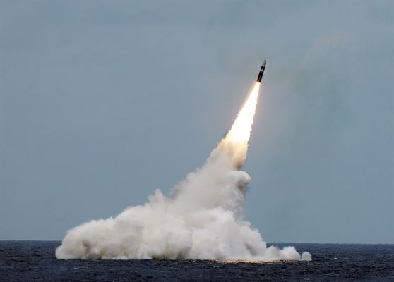 A Trident II D5 missile launched from an Ohio-class ballistic-missile submarine. U.S. Navy photo by John Kowalski