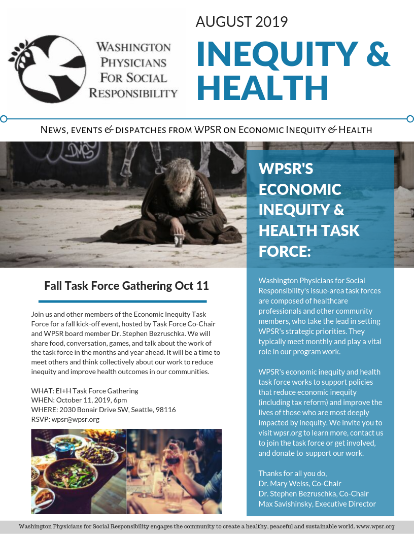 WPSR Economic Inequity + Health News August 2019