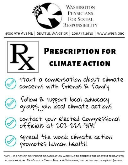 Prescription for Climate Action - WPSR created double-sided prescription pads. Feel free to use these at your next climate action event.