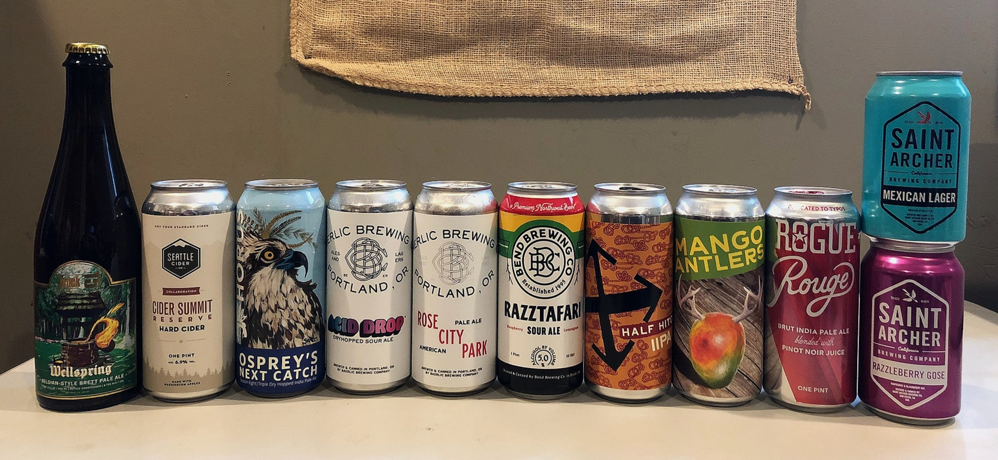 Check out these links to find out more of the breweries featured here:   BLOCK 15  -  SEATTLE CIDER CO.  -  HORUS  -  BAERLIC  -  BEND  -  CRUX  -  WANDER  -  ROGUE  -  SAINT ARCHER