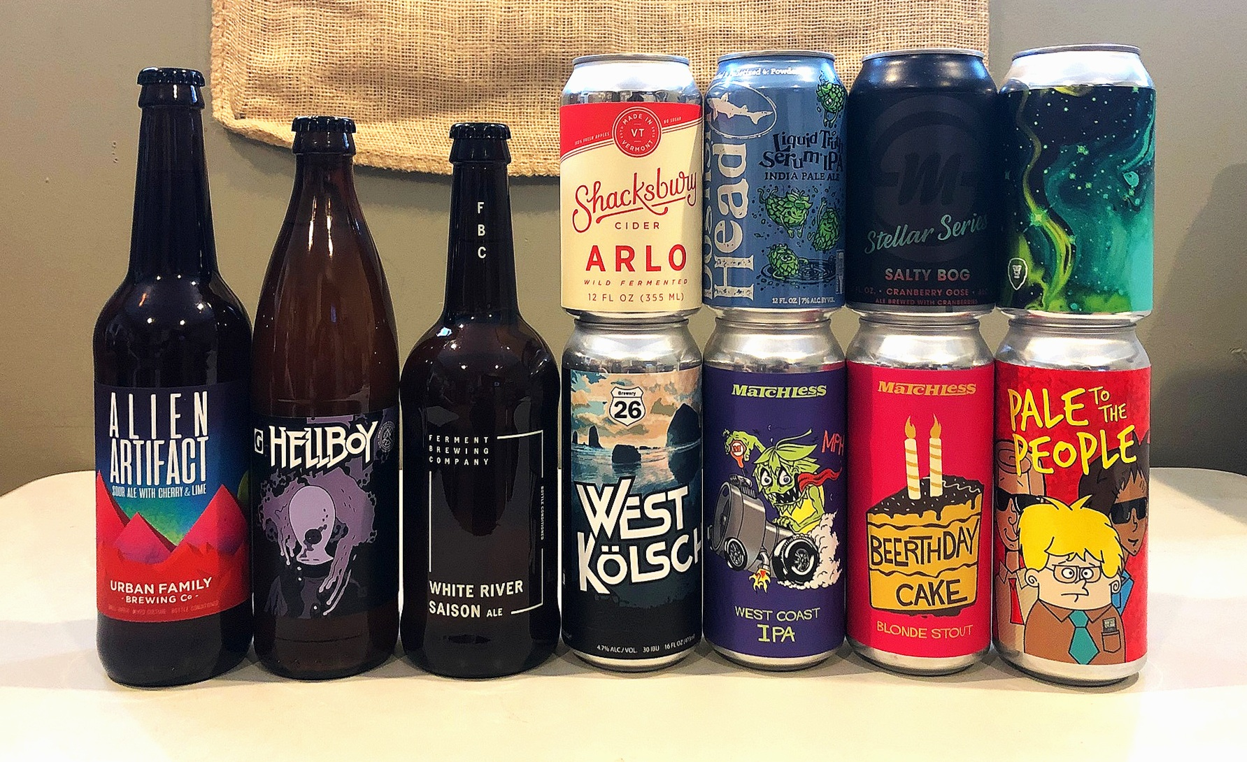 CLICK ON THE LINKS HERE TO FIND OUT MORE ABOUT THESE BEERS AND CIDERS:    Urban Family    -    Gigantic    -    Ferment    -    Shacksbury    -    Dogfish Head    -    Silvermoon    -    Aslan    -    Brewery 26    -    Matchless    -    Level