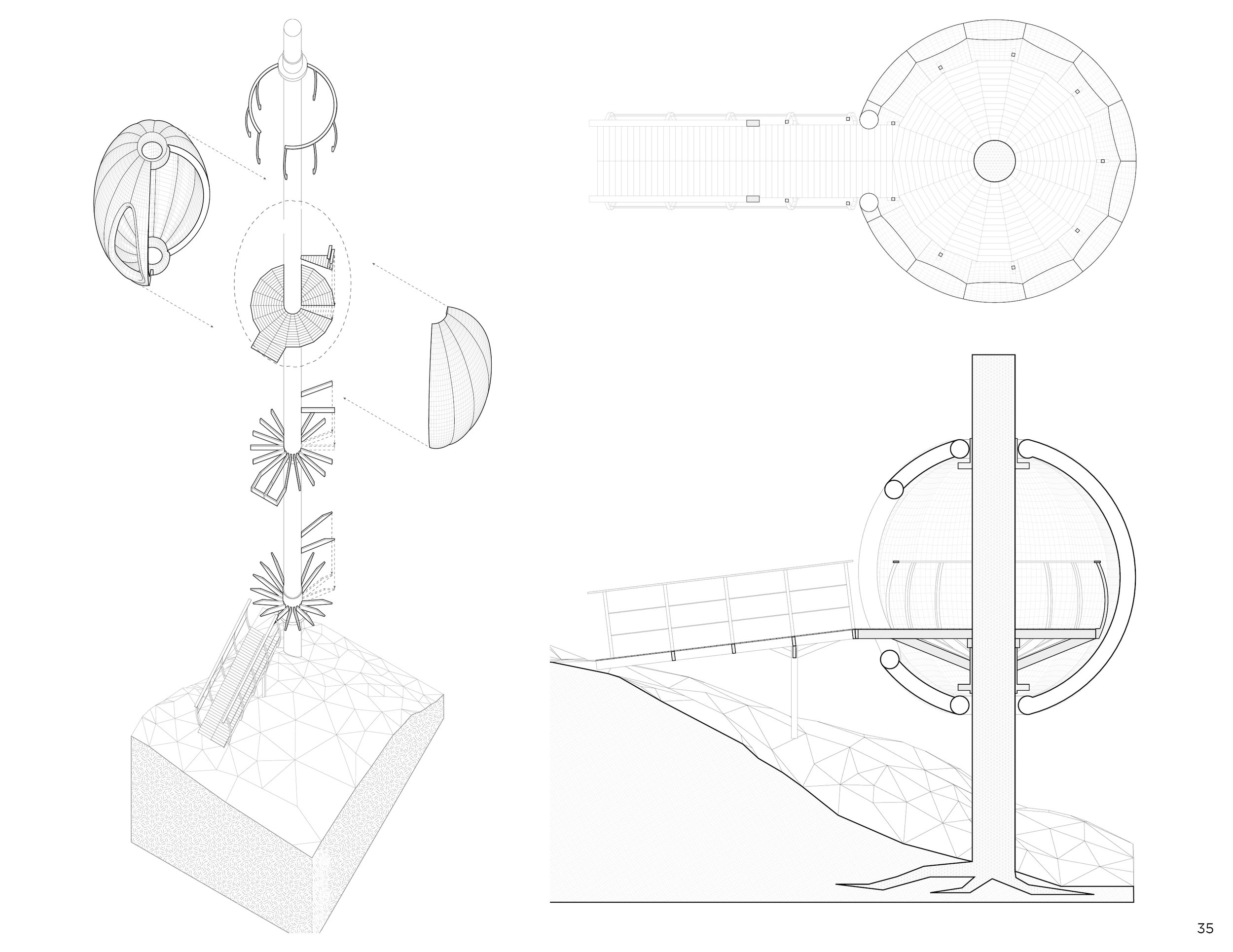 Plan, section + exploded axonometric
