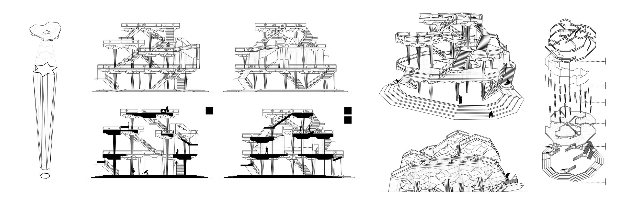 Column Shape, Elevations, Sections, Perspectives + Exploded Axonometric