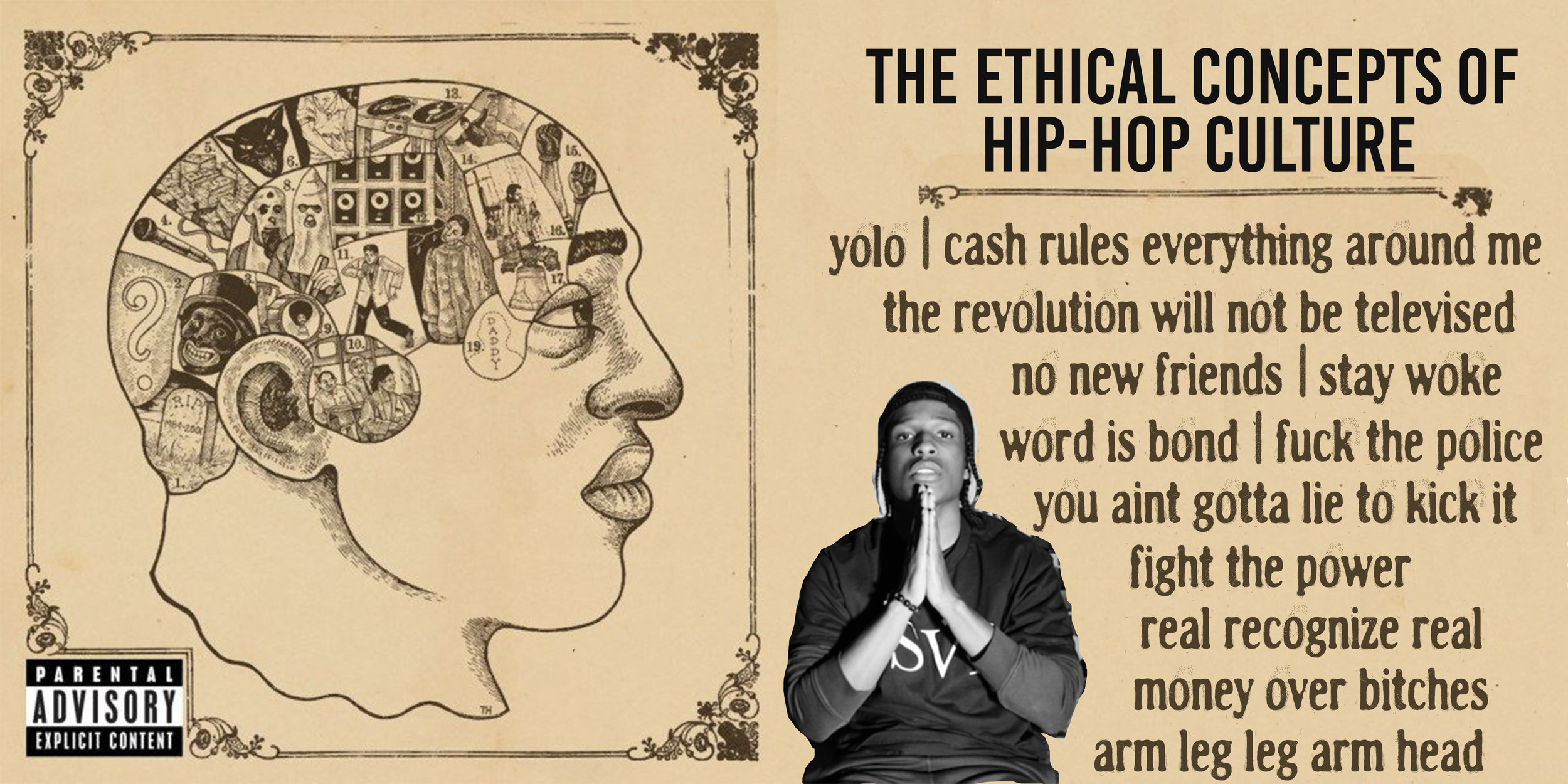 """Left:  Album art for The Roots' 2002 release """"Phrenology""""  Center:  Rapper ASAP Rocky posing with """"prayer hands"""" a common gesture in rap performance ,  Right:  A list of proverbs and ethical concepts common in rap lyrics"""