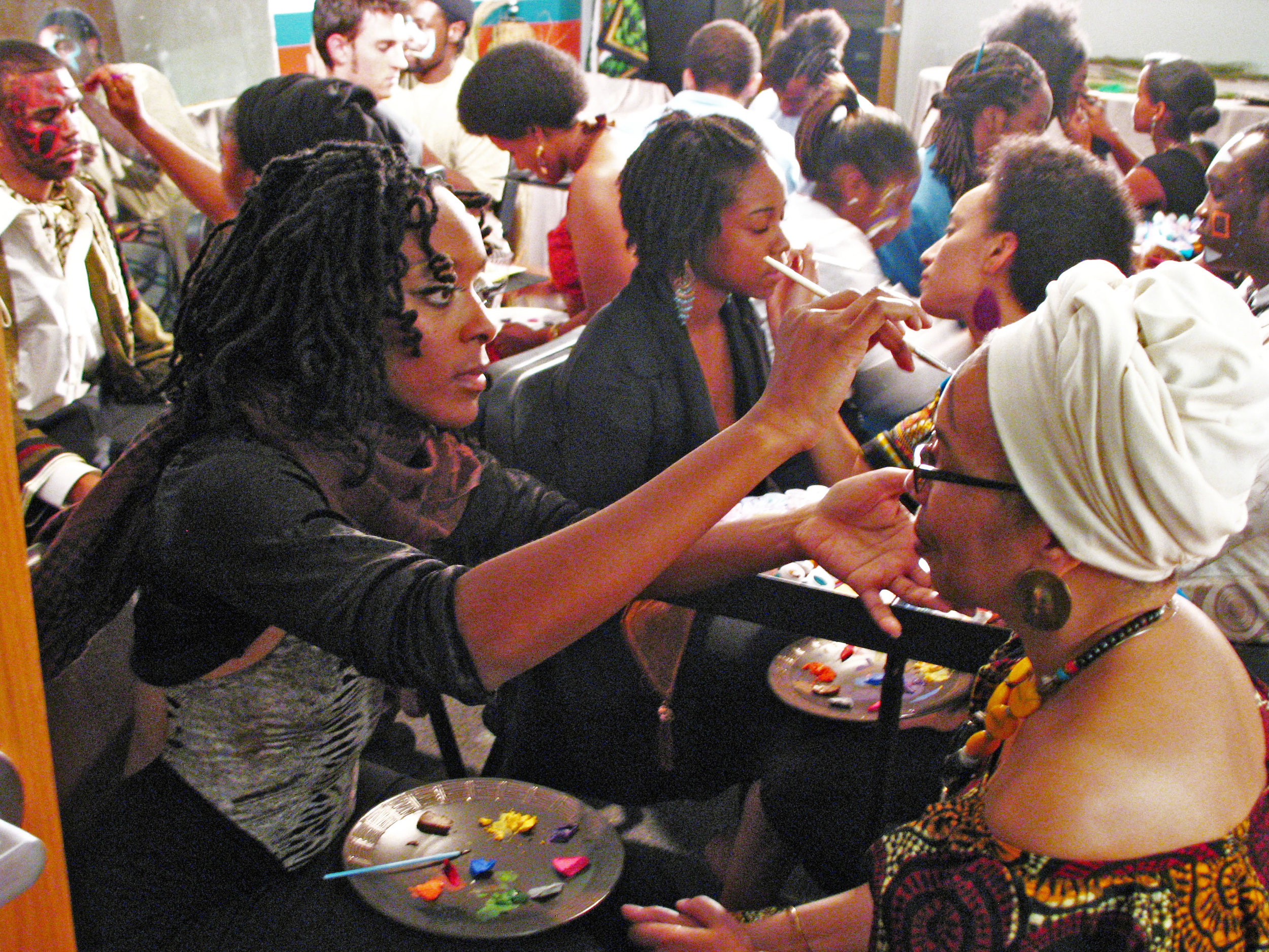 The MassQuerade Ball is a community ritual designed to facilitate connection.   Human-to-Human connection  is forged between participants through touch and eye contact in a face-painting ritual.   Human-to-Humanity connection  is fostered through examining just how pervasive the masking ritual is in populations around the globe.