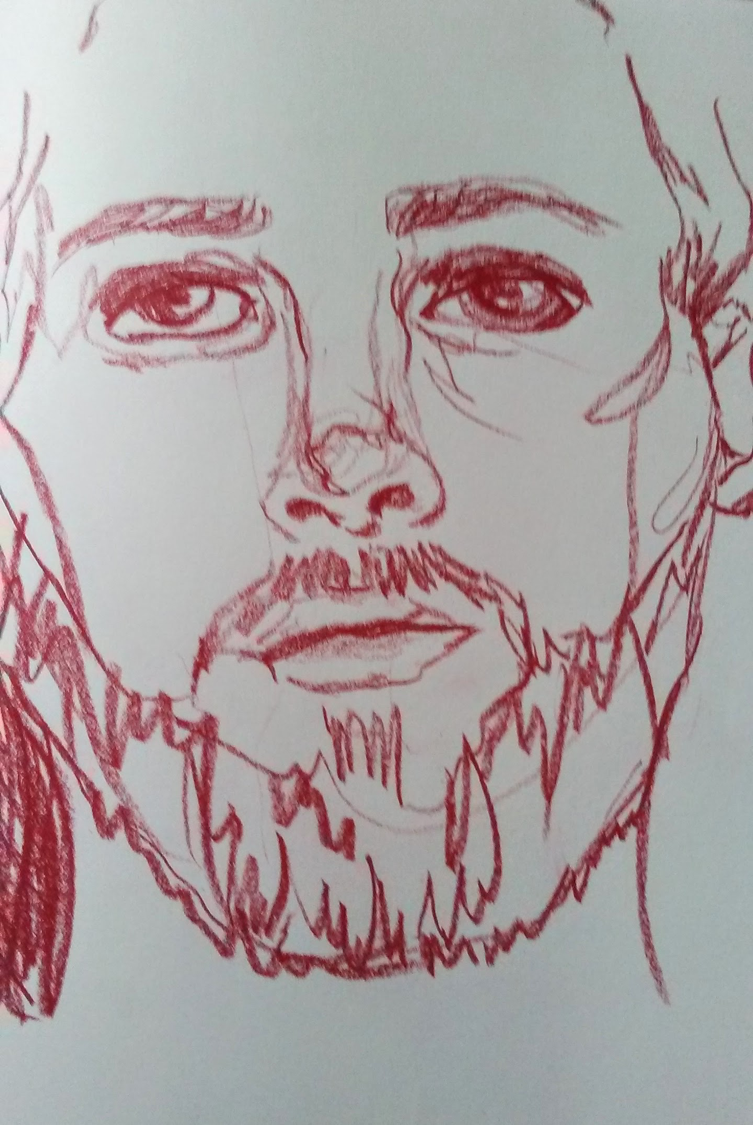 "Continuous Contour Drawing  Self Portrait Conte Crayon Timed 5 Minutes 24"" x 18"""