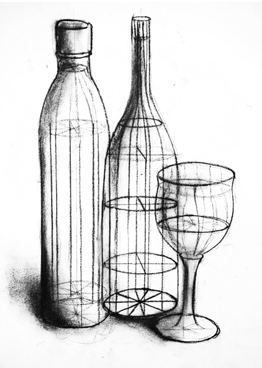 "Caged Volume: Object  Compressed Charcoal  24""x 18"""