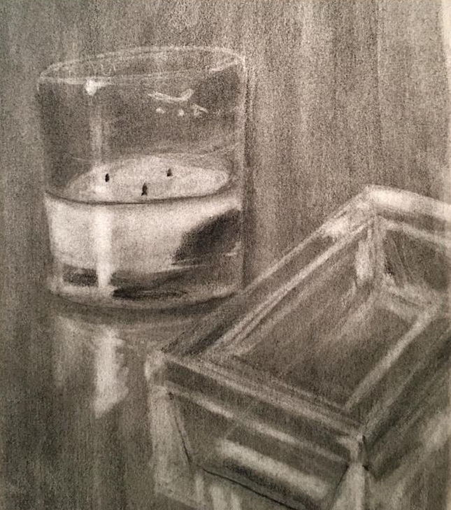 "Reflective Drawing  Charcoal  24"" x18"""