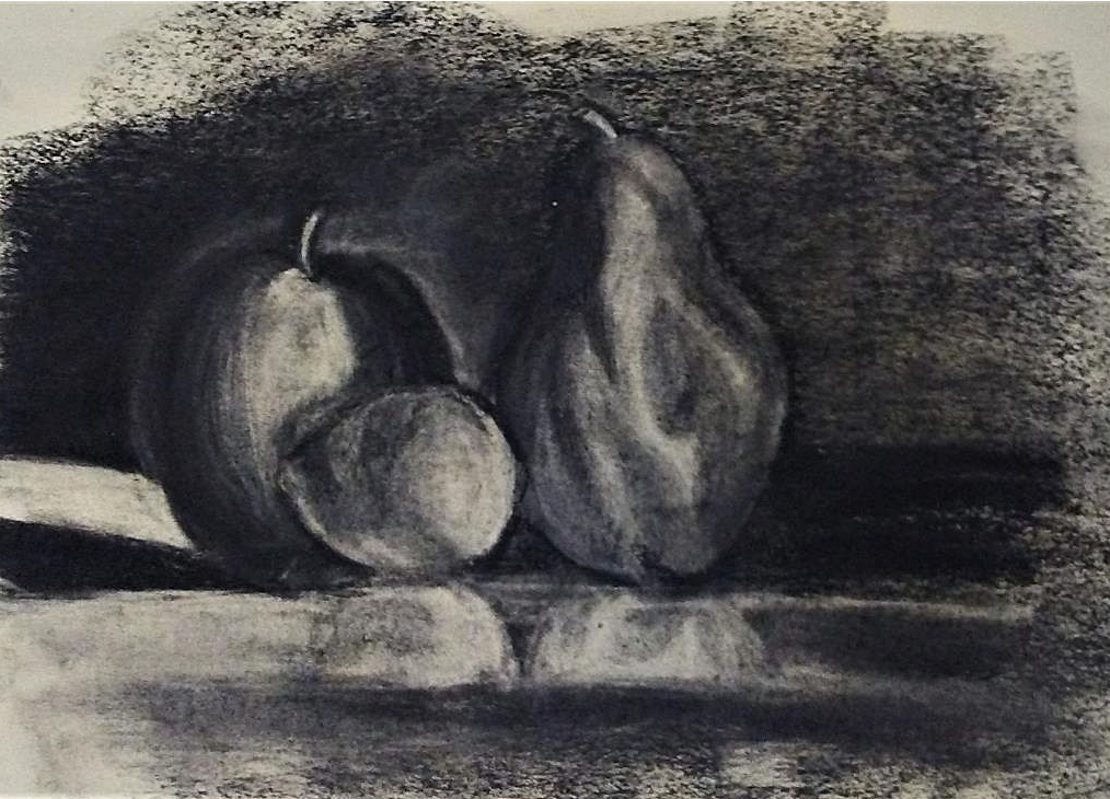 "Composition Drawing: Still Life    Charcoal and Eraser    18"" x  24"""