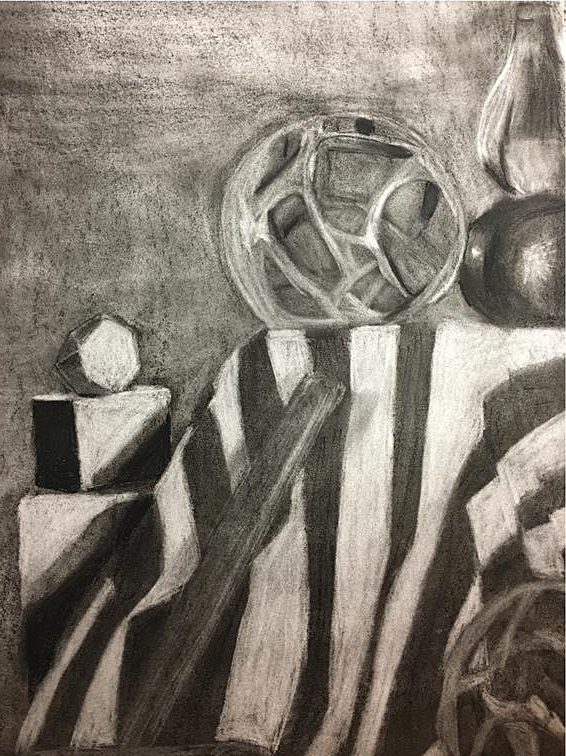 "Composition Drawing    Charcoal    24"" x 18"""