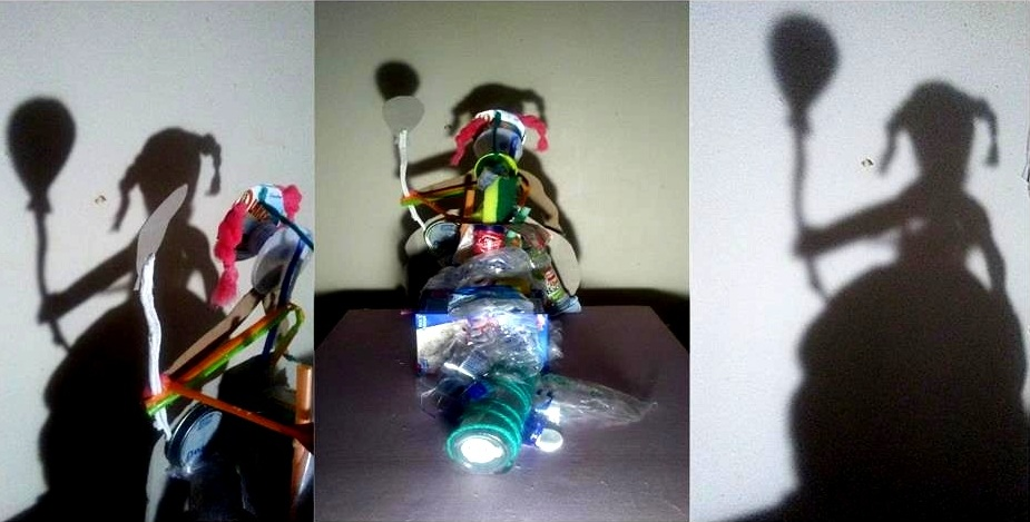 Trash Shadow Sculpture   Bottles, Cereal Boxes, Straws, and Other Recyclables