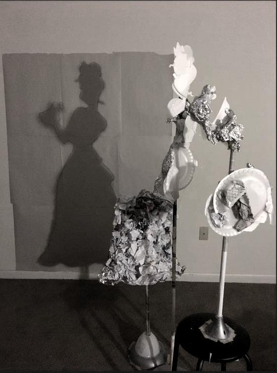 "Trash Shadow Sculpture   ""Tiana and Naveen""  5.5' H"