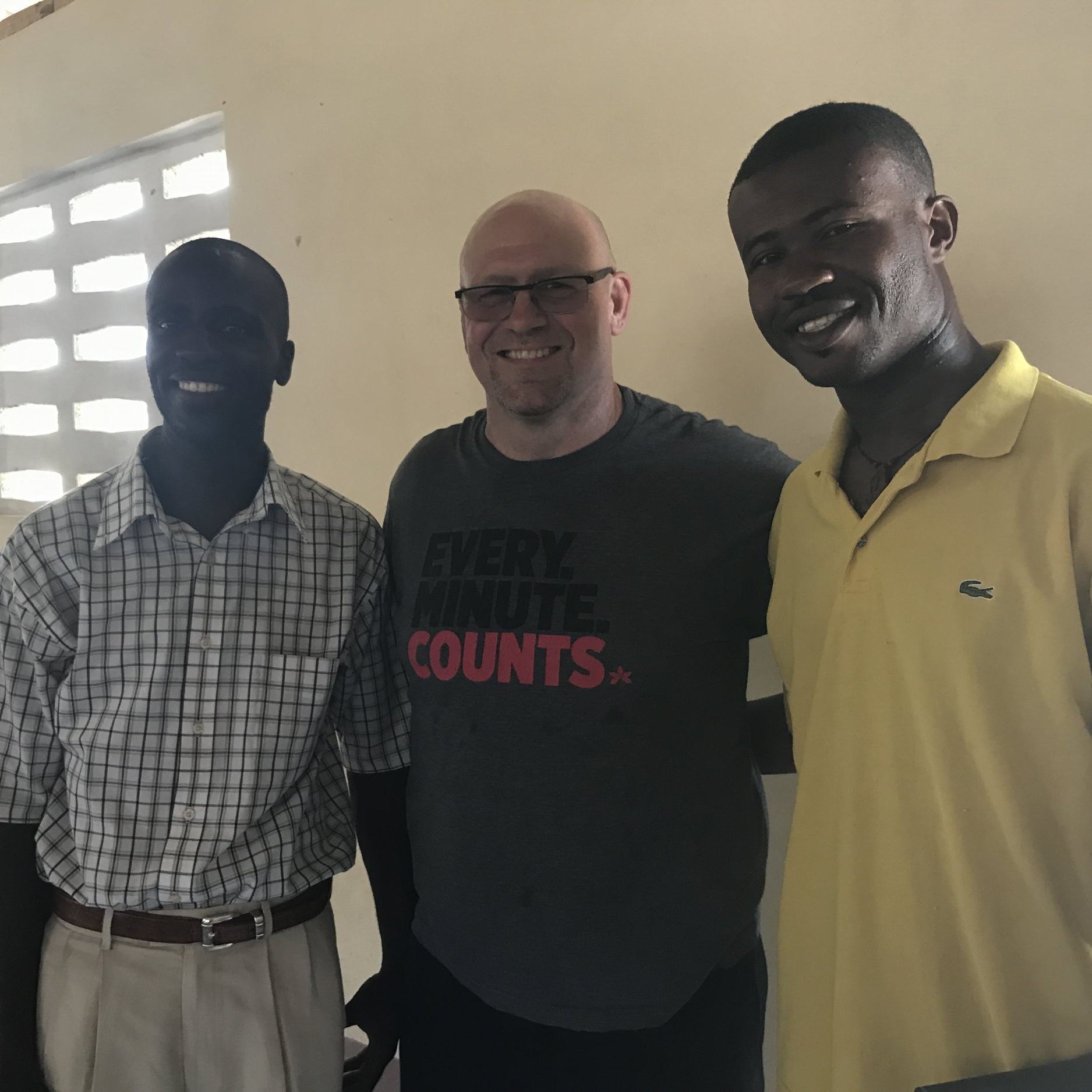 Left: Pastor Samedy, Michael Rowley, Josue Evo