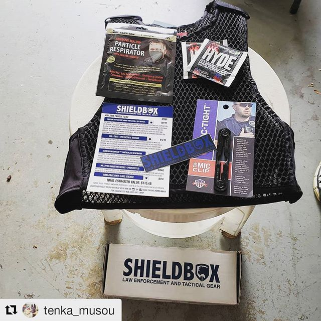#Repost @tenka_musou (@get_repost) ・・・ The Shield Box that I won from @tommy_freefieldtraining  Thank you, Tommy!!! It included a Maxx-dri vest, Mr Hyde energy drink mixes, a Sabre ReadiMask particle respirator, a Mic Tight mic clip and a Shield Box decal.  I'd like to indirectly thank Terry v Ohio, for providing me the answer that won me this great package!!! Stay safe on the streets, Tommy!