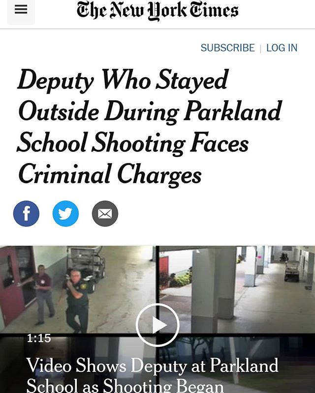 """Unacceptable behavior that I said directly after should have been criminally charged now finally is. 🔵🔴🔵 We have a duty, both legally and morally, to protect the public to the best of our abilities once we are on scene. There is not greater duty to protect the public than that of an SRO to protect to the best of his or her abilities the students at the school to which they are working. 🔵🔴🔵 By all accounts this was an enormous failure of an SRO and on duty Sheriff's Deputy to make any reasonable effort to end the actively occurring murder of kids that depended on him for their protection. I do not often welcome fellow cops being charged with crimes in relation to the decisions they make on the street, but this case is a glaring example of an attitude of some cops that is a cancer to law enforcement and the tragic results of that attitude. 🔵🔴🔵 Rookies and prospective """"future police officers"""" take note: this is not how police work is done. 🔵🔴🔵 End of rant.  #lawenforcment #schoolsafety #police #ThinBlueLine #thickblueline #corrections #freefieldtraining #tiertalk #sheriff #parkland #parklandshooting"""