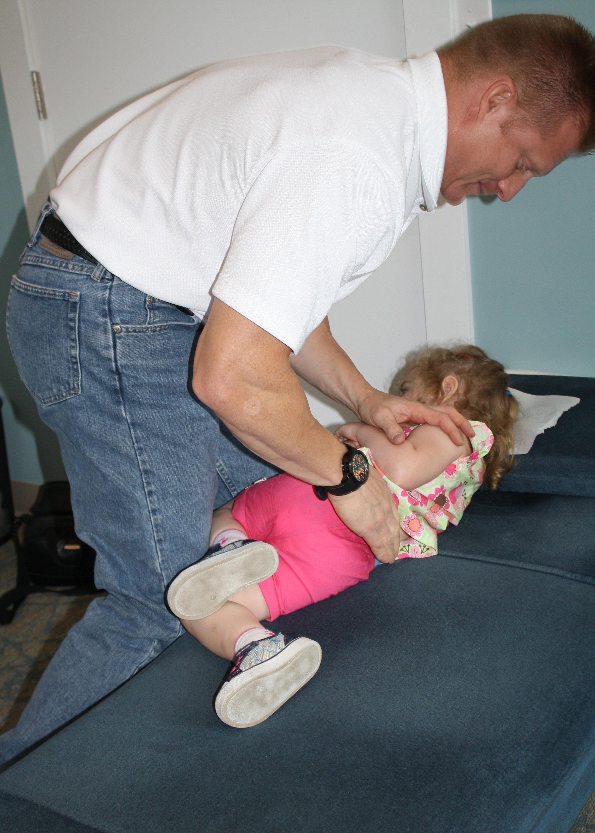 Dr. Sharp adjusting little Kadence!