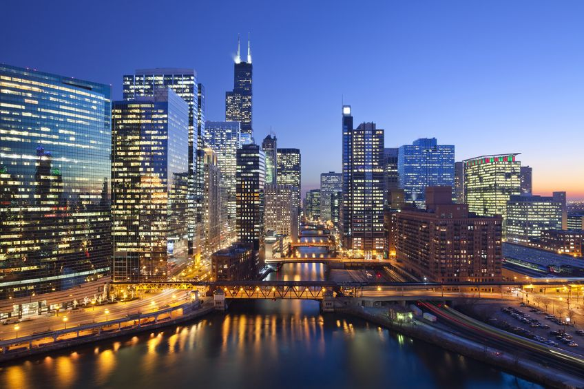 Chicago's Downtown area known at the Chicago Loop