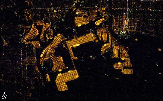 NASA's photograph of  The Port of Long Beach