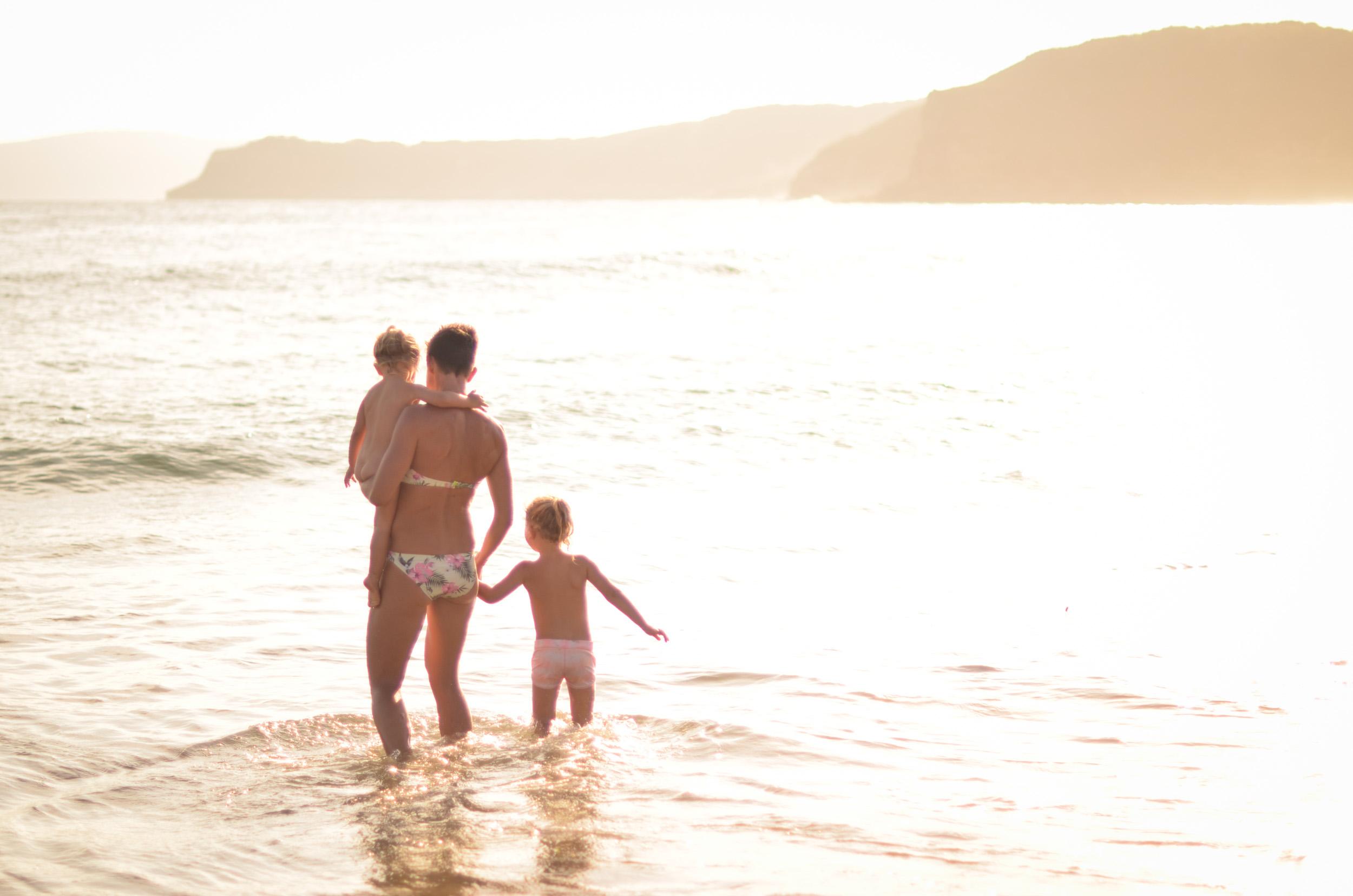 Family swim at Putty Beach central coast photographer