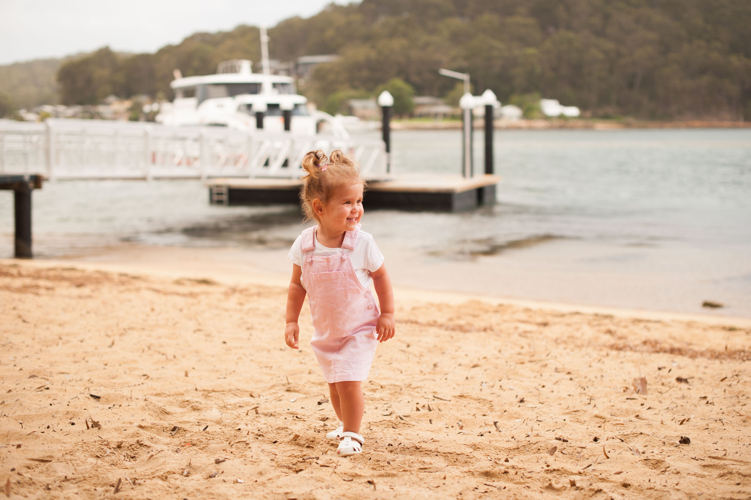 Smiling at Palm Beach Ferry Ettalong Wharf Documentary Family Photography