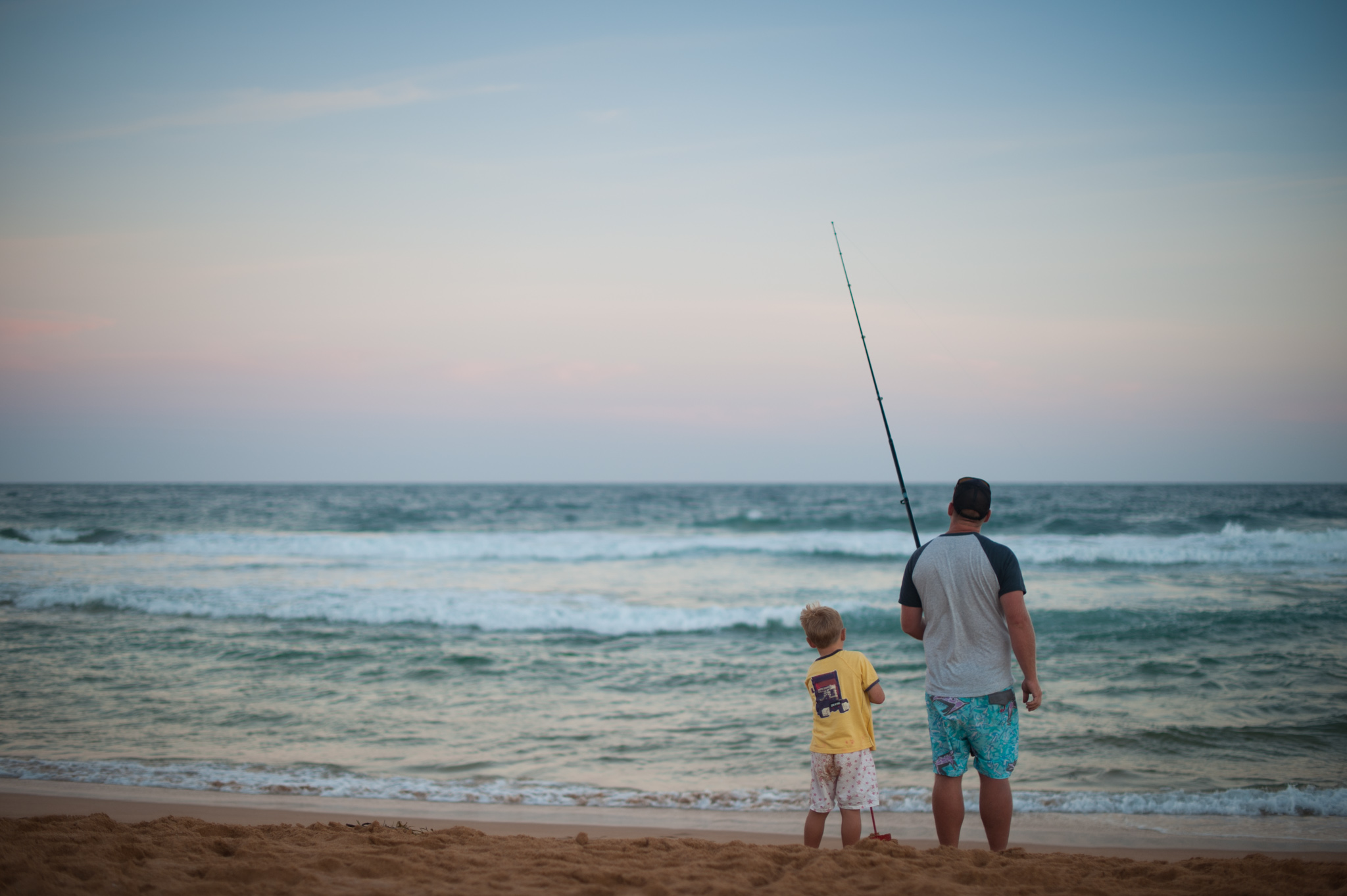 father and son fishing avoca beach