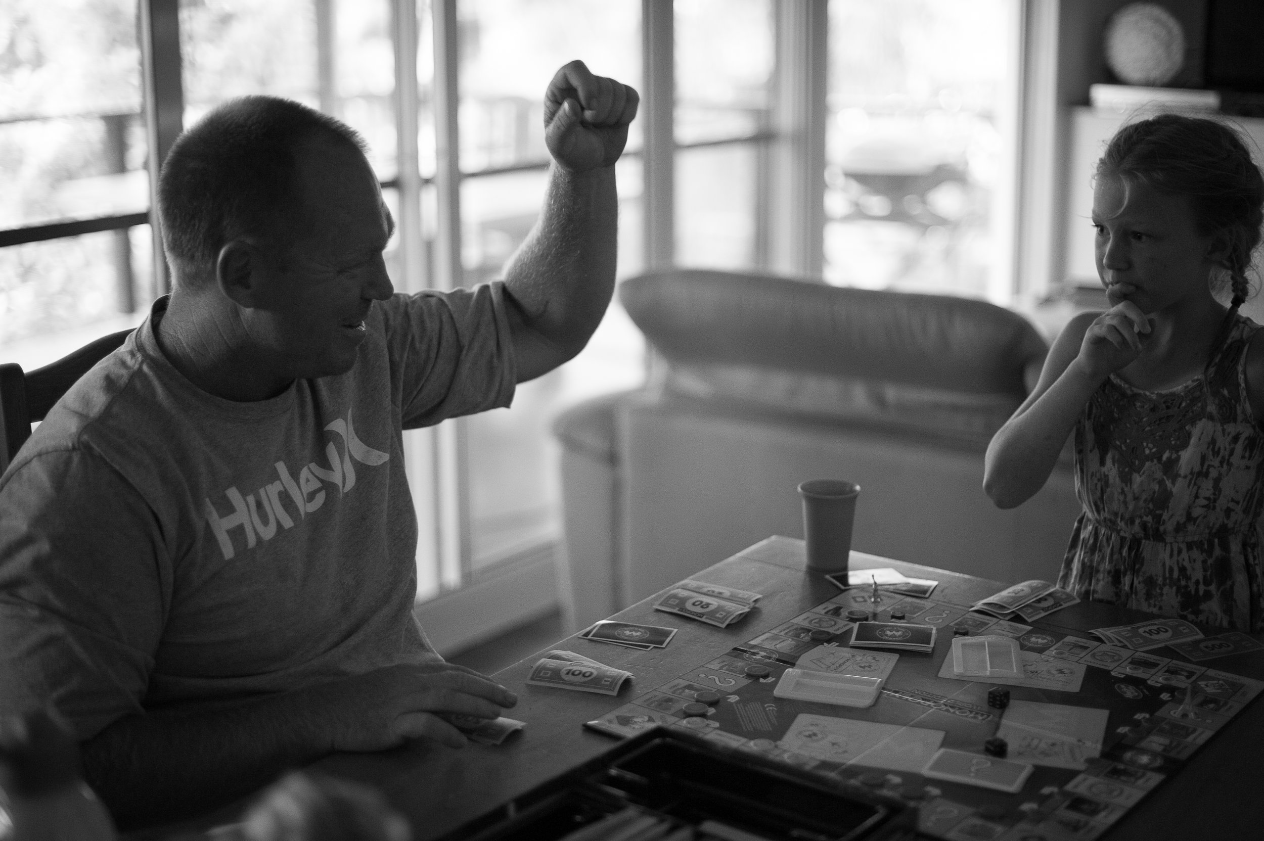 playing monopoly with dad central coast photographer