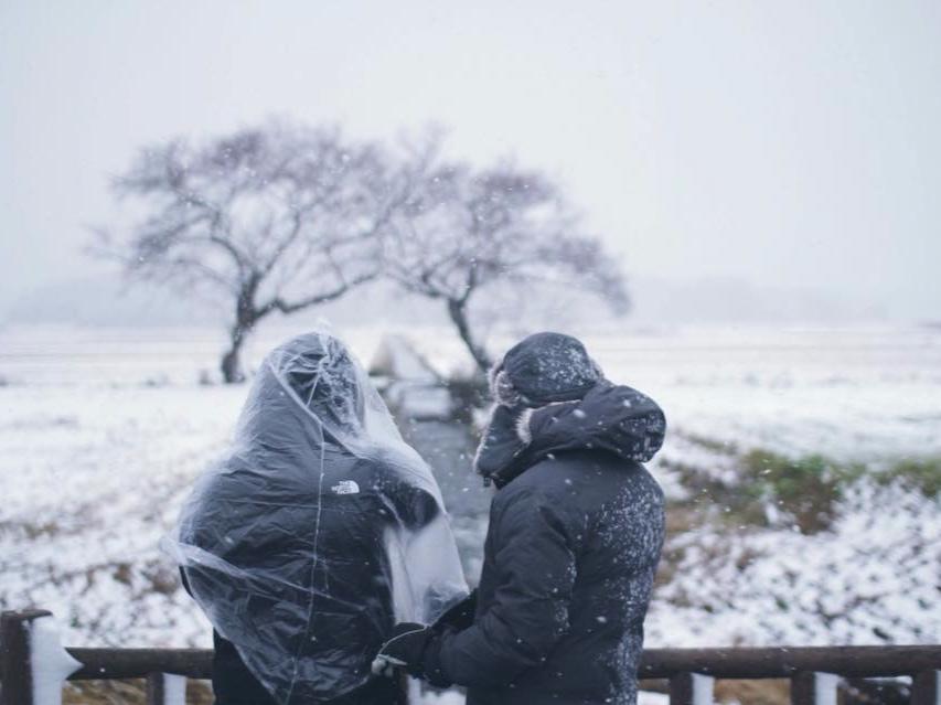 記録的大雪の中撮影を断行  Filming in the record snowfall