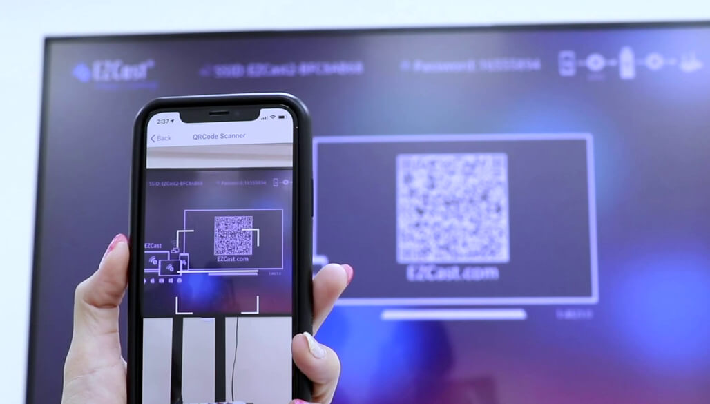 Use EZCast app's QRCode scanner to connect to the dongle.
