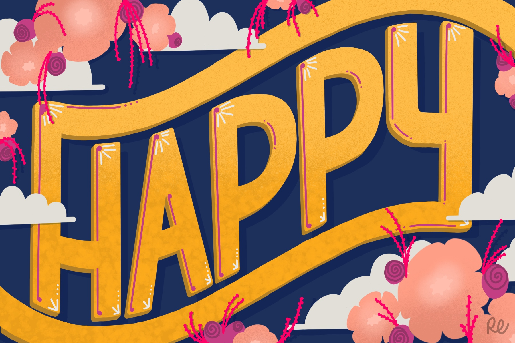 Happy, 2018 Hand Lettering Illustration, Procreate App