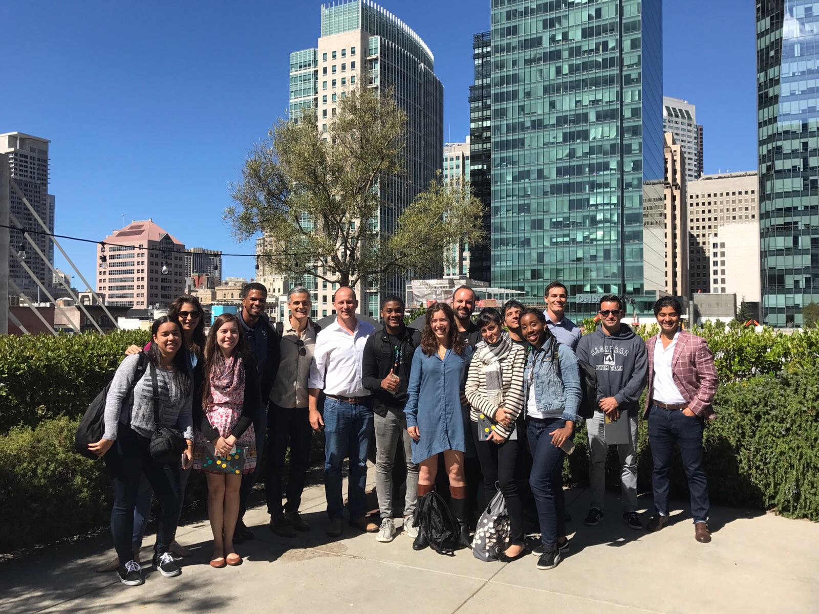 The group poses on the rooftop of Galvanize's SF office.