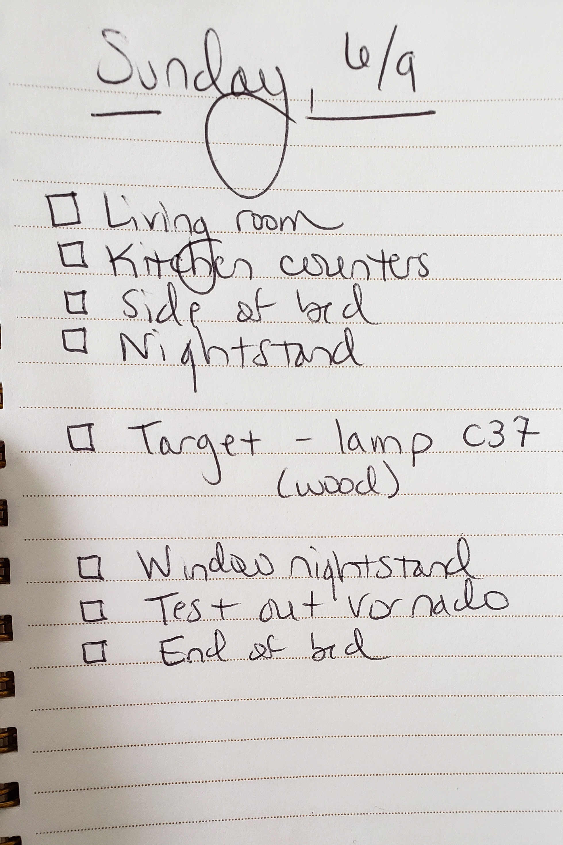 My Sunday list - Here's what I wrote down when I woke up this morning