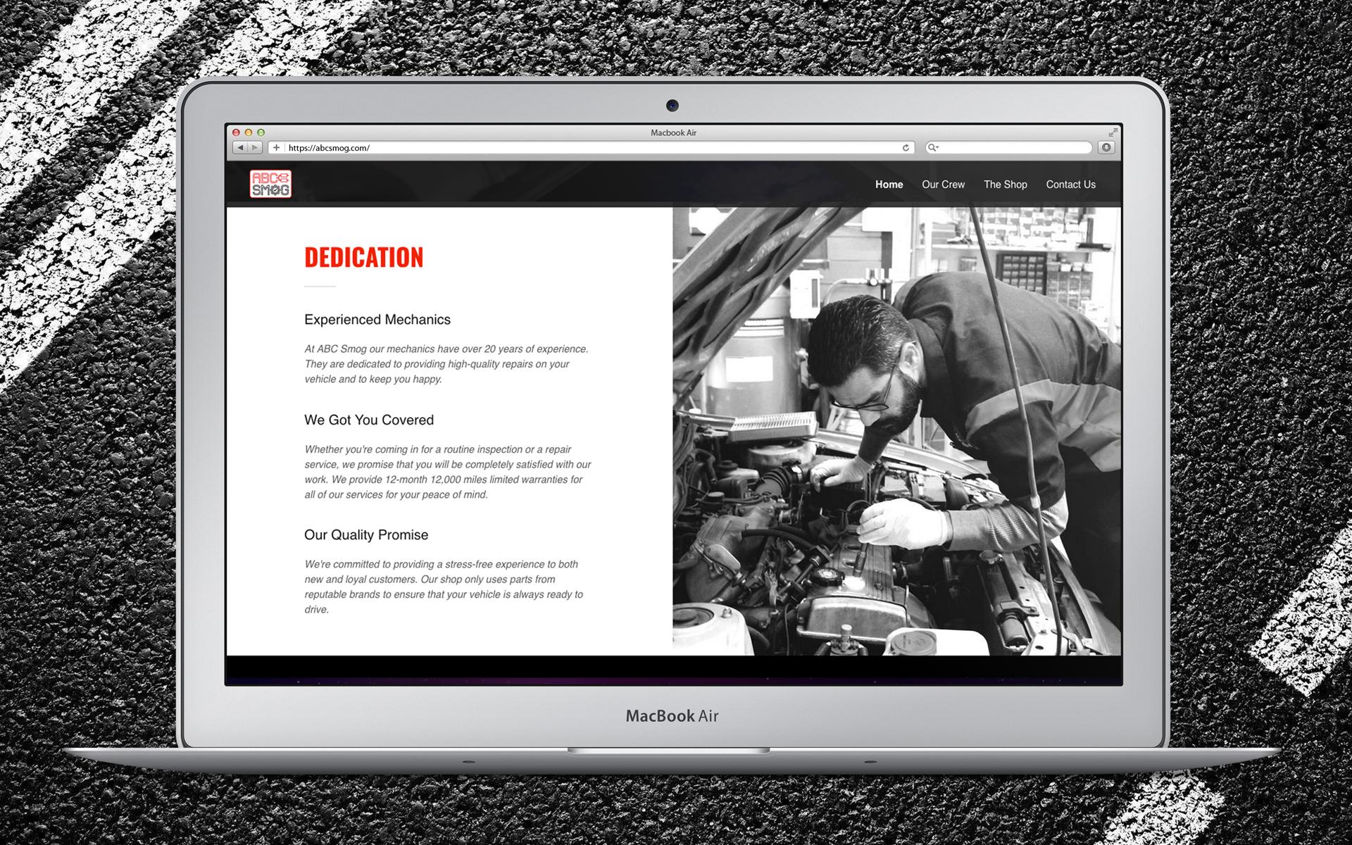 ABC Smog Website  Homepage Dedication