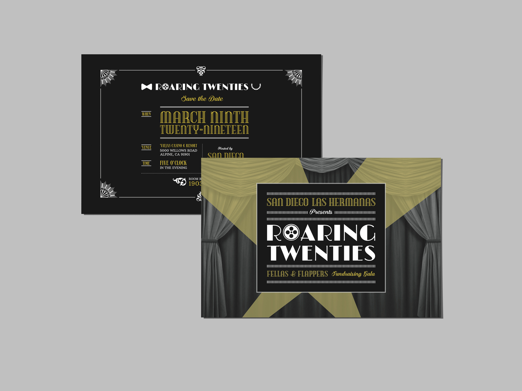Roaring Twenties Save the Date Double-Sided Cards