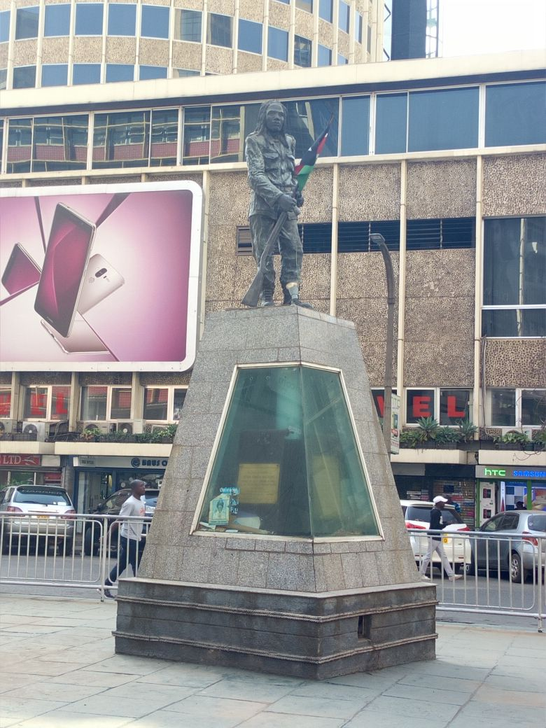 A statue of Dedan Kimathi in downtown Nairobi