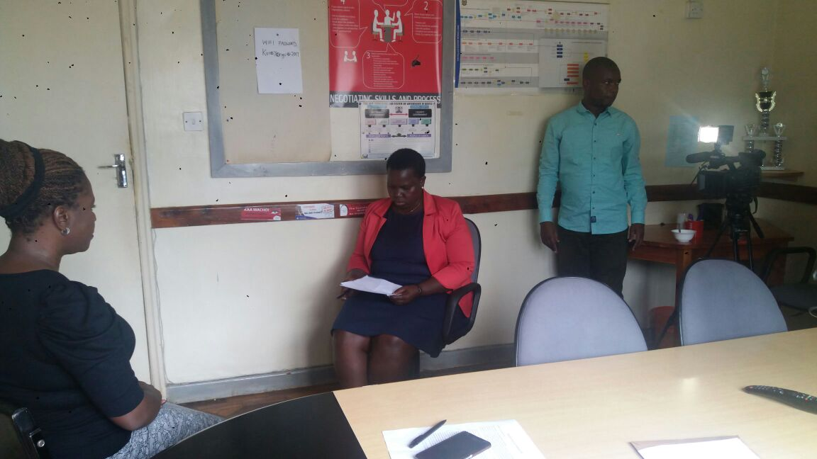 David and Mary (right) getting ready to interview Faith Alubbe at the Kenya Human Rights Commission in Nairobi.