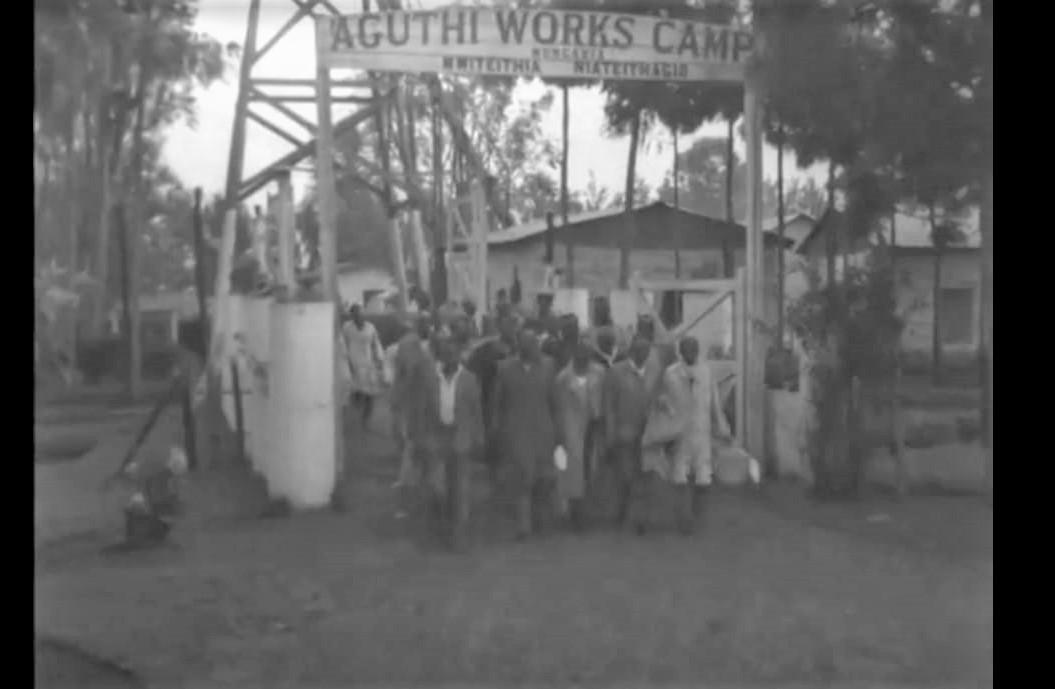 Figure 2: Aguthi Works Camp entrance, screen shot from British Pathe video, 1959