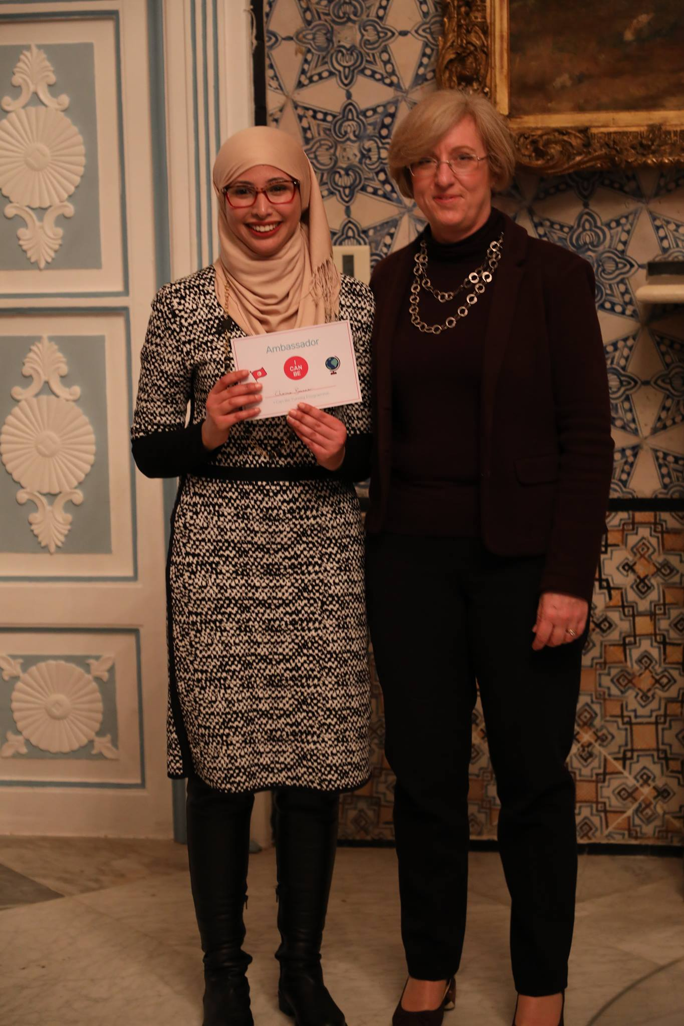 I Can Be Tunisia Ambassador Cheima Bennasr with Louise de Sousa, the British Ambassador to Tunisia