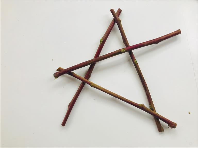 """Step 4: Get your fourth stick and find the top point of stick """"1"""". Lay your stick down on this point and face towards you. It will cross over stick """"2""""."""