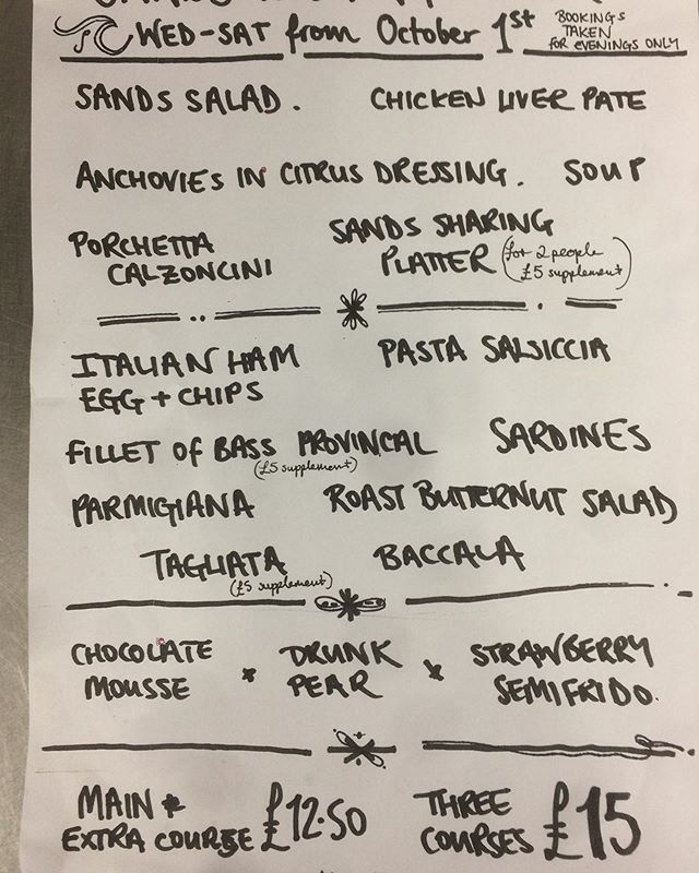 Evening Menu Outline from tomorrow  Open Wed - Sat Evenings
