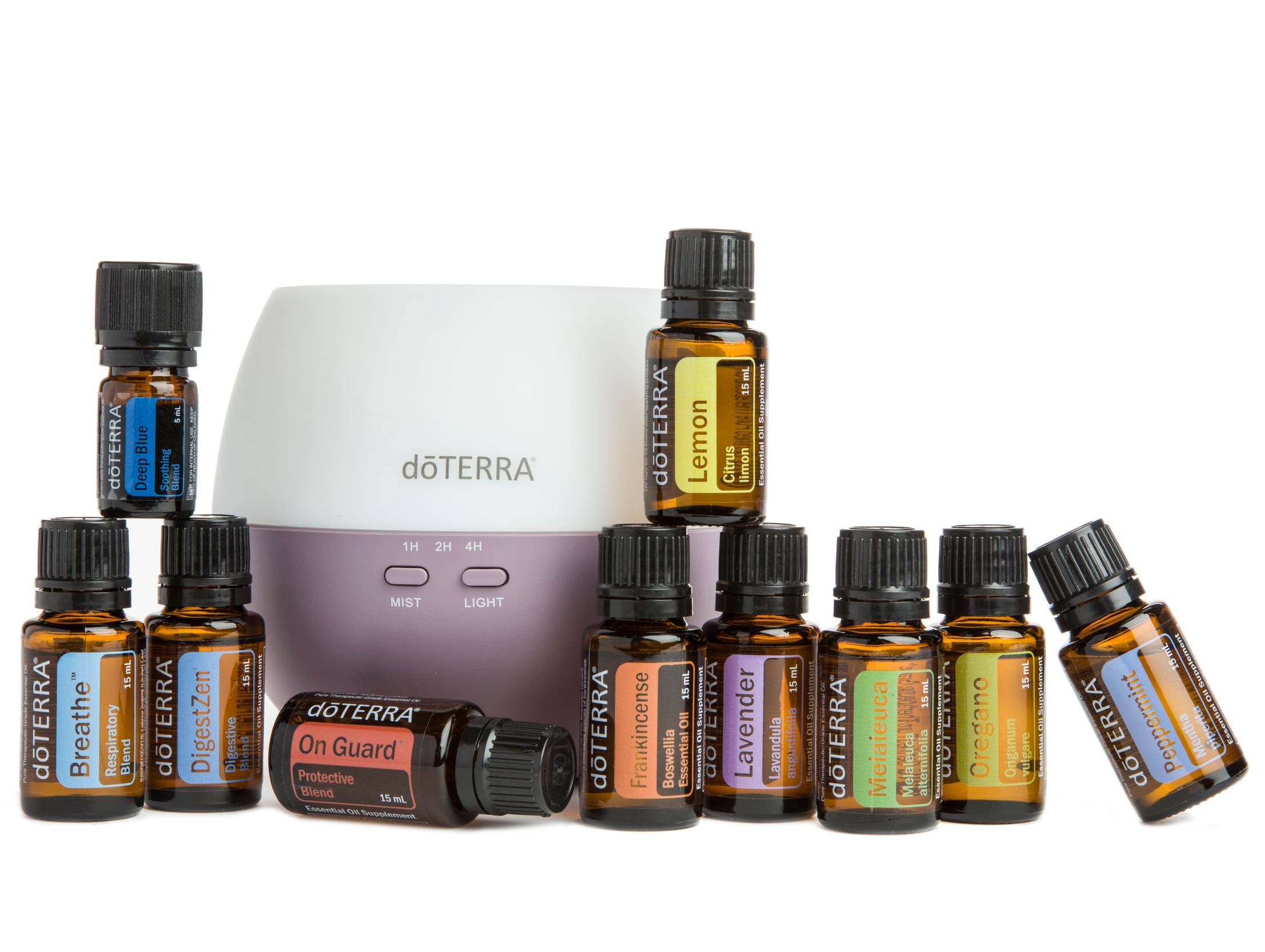 Home Essentials Kit - The 'big bottle' kit. Top 10 essential oils for every home plus a diffuser - triple the oil of Family Essentials.$330