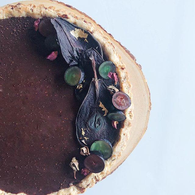 Dried fig + pear holiday ganache tart. Crust: rosemary pâte sucrée. Special-order only. . . . .  #tart #figs #dessert #foodie #foodporn #desserts #dessertporn #food #baking #ganache #rosemary #pastries #buzzfeast #trueABQ #artisan #feedfeed #huffposttaste #foodgawker #sweetmagazine #droolclub #foodprnshare #kitchenbowl #gloobyfood #forkfeed #f52bestof #pear